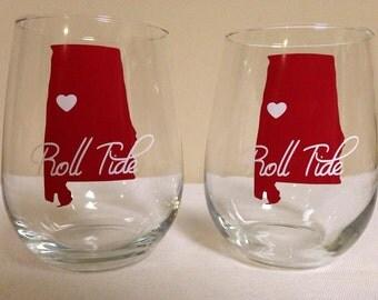 Alabama Stemless Wine Glass Set of 2