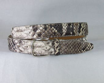 NEW COLLECTION-men's Python Belt rock. Heigh 3.5 or 4 cm. Brass Silver buckle america. Handmade product.