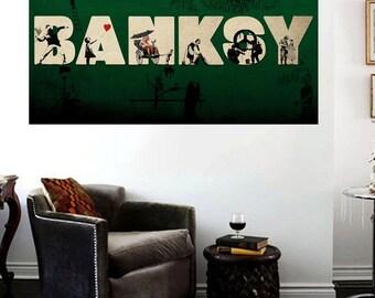 Banksy Compilation Collage Insane Street Art Canvas Print Huge 36 x 24 print