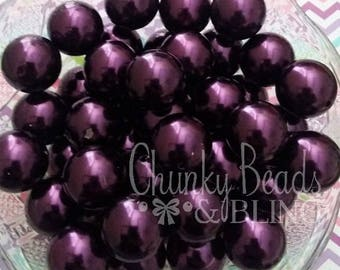 10pc. 20mm Plum Purple Acrylic Pearl Beads