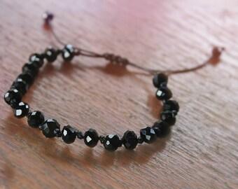 Crystal beaded bracelet   Adjustable bracelet   Beaded adjustable bracelet   Black crystal beads   Black beaded bracelet   Knotted bracelet
