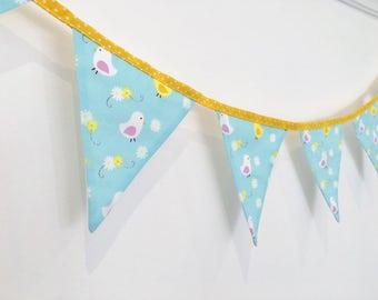 Baby Boy Bunting / New Baby Bunting/ Spring Bunting/ - Blue Bunting with White/ Yellow Chicks & Flowers