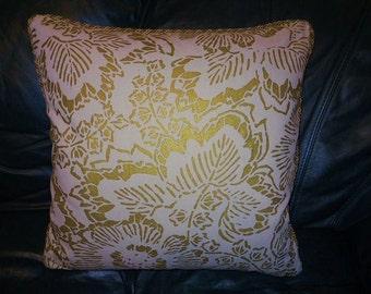 Groundworks Gold Metallic print OSHIKA PRINT Throw pillow Custom designer pillow new ONE