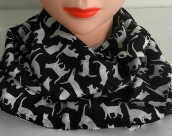 Cat scarf, Kitty scarf, Animal print, Infinity cat scarf, Black and white scarf, cat print scarf, Gift for her, Womens fashion, Circle scarf