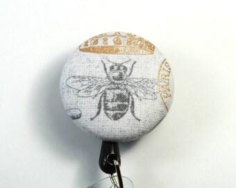 BEE Badge reel, Button badge reel, Bug lanyard, Humming bee badge reel, Bee button reel, Gray bug lanyard, Retractable badge reel
