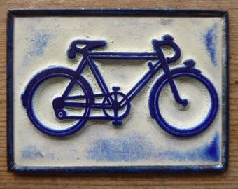 French Rubber Stamp on Metal Back, Ink Stamps, Bicycle Design