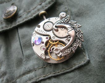 Steampunk moon brooch Gothic Victorian Moon Steampunk jewelry Moon Pin Steampunk pin Steam punk jewelry Burning man