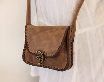 Little shoulder bag Handlaced LARP's Steampunk leather bag bag