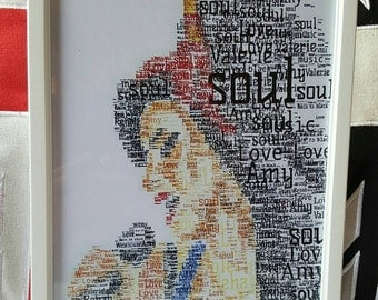 Amy Winehouse word picture A4 framed