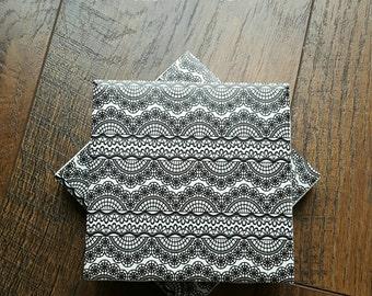 CLEARANCE - Tile Coasters - Black Lace Print - Set of Four