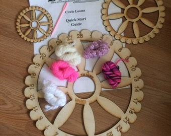 Set of 3 Circle Weaving Looms even or odd notches (Yarn and Needles not included)