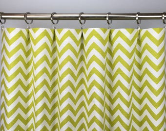 Lime Green Chevron Curtains  - FREE SHIPPING - Pale Green Drapes - Rod Pocket - Grommets - Lined/Unlined - Valance- 24 50 x 84 96 108 120