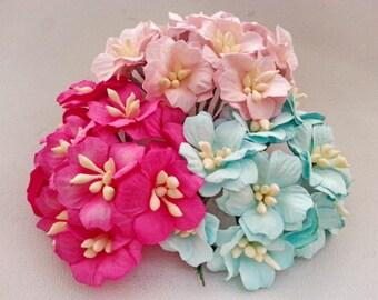30 pcs. SAKURA mulberry paper flower mixed color 2.5 cm.,scrapbook,greeting card,wedding & headband,accessorie