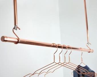 Hanging Copper Clothes Rail, Clothes Rack, Hanging Rail, Copper Rail