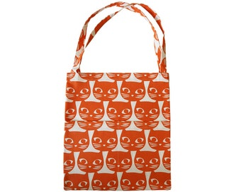Handmade Ginger Cat Cotton Tote Bag, Limited edition