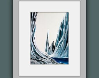 """SALE Original Mountain Painting, Abstract Painting, Contemporary Art, Modern Painting on Paper 11""""x15"""""""
