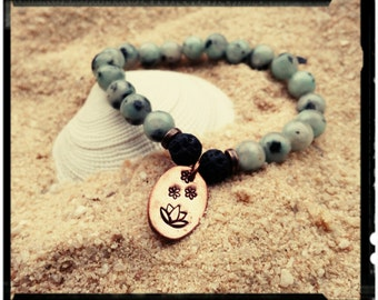 Mala Bracelet//Yoga Bracelet//Meditation Beads - Seasame Jasper/Lava Rock/Hand Stamped Lotus Flower/Raw Copper Charm - Spiritual Bracelet