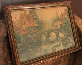 Vintage European Village Framed Print with Three Arched Bridge and Canal | Church of Our Lady Cathedral, Bruges Belgium