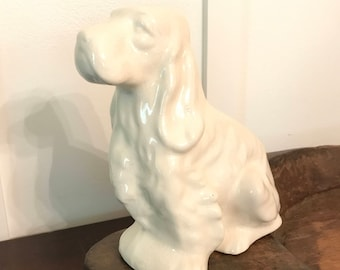 Vintage White Ceramic Dog Shaped Planter
