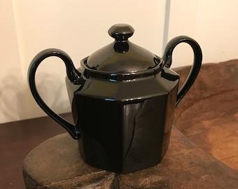 Vintage Jet Black Fitz and Floyd Octagonal Sugar Bowl with Lid
