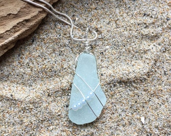 Genuine Ice Blue Sea Glass and Beads Necklace, Authentic Sea Glass, Sea Glass Jewelry, Sea Glass Pendant, Handmade, Girlfriend Gift, Unique