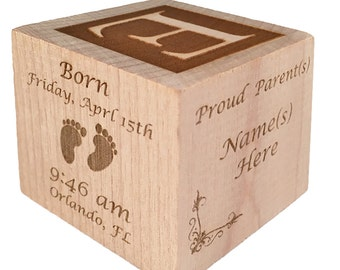 Custom Baby Block Wooden Baby Block Unique Baby Gift Newborn Twin Baby Gift Personalized Baby Block Engraved Baby Block Baby Birthday Gift