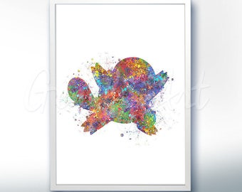Pokemon Squirtle Pokemon Go Watercolor Art - Watercolor Painting - Watercolor Poster - Wall Decor - Home Decor - House Warming Gift
