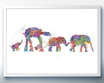 Elephant Family with Star Wars AT-AT Walker Watercolor Art Print - Watercolor Art Painting - Animal Poster - Home Decor - House Warming Gift