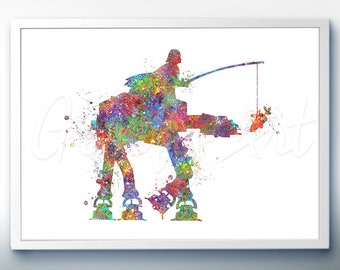 Star Wars Darth Vader riding AT-AT Walker Watercolor Art Silhouette Poster Print - Wall Decor - Watercolor Painting - Home Decor -Kids Decor