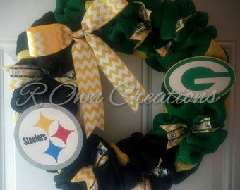 House divided NFL Steelers Packers burlap wreath