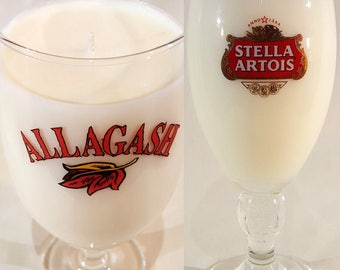 Beer Glass Candle: Stella Artois Chalice -or- Allagash Stemmed Tulip