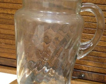 Clear Glass Spiraled Water Pitcher
