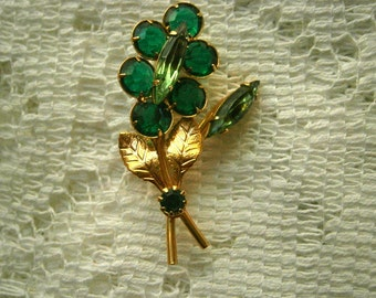 Green Rhinestone Flower Brooch
