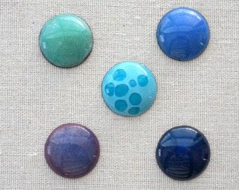 DESTASH Enamel Cabochons - Blue, Green, Teal, Periwinkle - Destash Cabochons - Jewelry Making Supplies, Destash Enamel