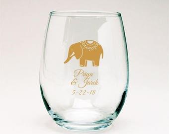 24 pcs Lucky Elephant Personalized 9 Oz Stemlesss Favors ( JM5969482-JN9OZ2)