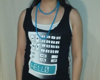 Upcycled Calculator Safety Pin Shirt - Medium