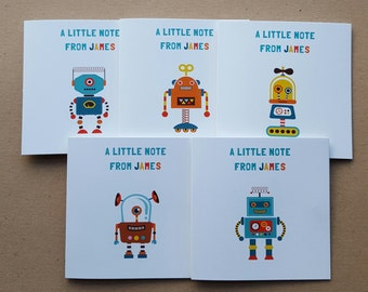 Personalised  Robot Note Cards x 10