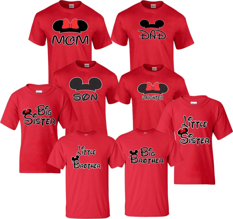 Minnie Mom Mickey Dad Disney Family funny cute Customized Red
