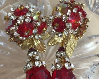 Antique Red Beads and Swarovski Crystals Teardrop Earrings-Free Shipping