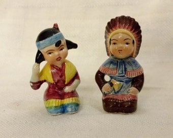 Mid Cnetury Indian Salt and Pepper Shakers Made in Japan