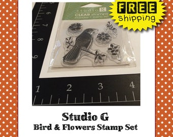 Studio G Clear Acrylic Bird Flowers and Leaves Stamp Set - DESTASH - FREE Shipping - DIY Project Supplies for Card Making and Scrapbooking