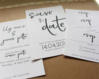 Wedding Invitation Package - Clean, simple, black, white typographic wedding invitation, save the date rsvp luxury quality print SAMPLE PACK
