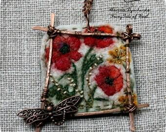 Felted pendant, Felt necklace, Felt accessory, The landscape pendant Poppies Felted pendant  Boho style  Hand-made