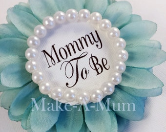 TIFFANY BLUE Baby Shower Corsage, Baby Shower Favors,Mommy To Be Pin ,Capias
