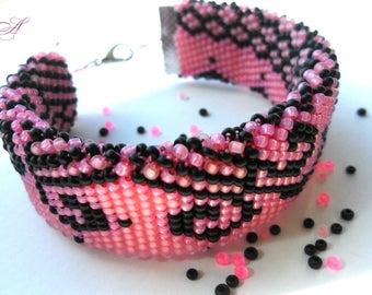 Pink bracelet Beaded crochet Wide bracelet Lace bracelet Pink and black Bracelet crochet Beaded jewelry Jewelry gift Wife gift Ukraine