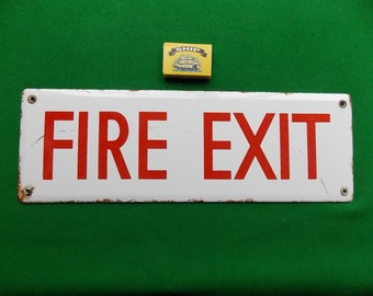 Vintage Enamel/Porcelain Fire Exit Sign