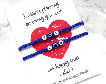 Couples bracelet, couples jewelry, couples bracelet set his hers, evil eye couples bracelet, evil eye jewelry, gift for couple, BFF bracelet