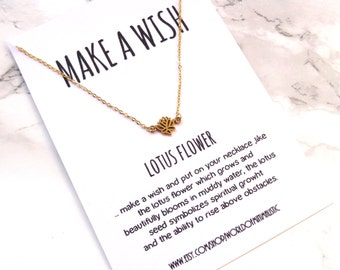 Delicate lotus flower necklace, lotus flower yoga necklace, fine minimalist necklace, dainty simple jewelry, everyday lotus flower necklace