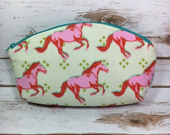 Petal pouch, Curved makeup bag, Fabric cosmetic bag, Mustang fabric, Horse fabric, Pink makeup bag, Gift for Mom, Pencil case, Zipper pouch