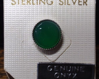 Green Onyx and Sterling tie/shirt tac